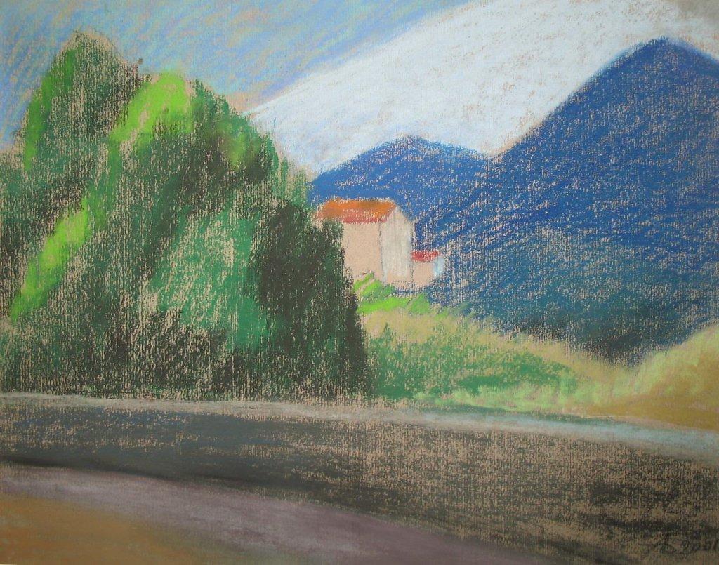 Вид с дороги на Альпы.