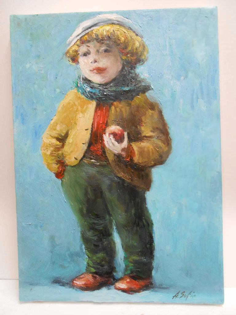 Мальчик с яблоком.